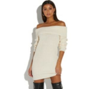 Off White Ribbed Sweater Dress